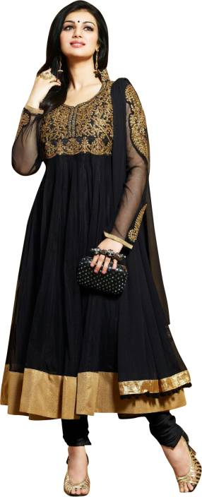 Reya Georgette Embroidered, Solid Semi-stitched Salwar Suit Dupatta Material