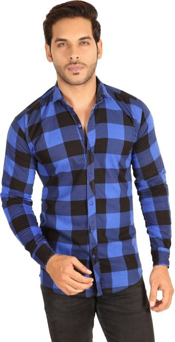 3a97ea41243d FabTag - Mesh Men Checkered Casual Blue
