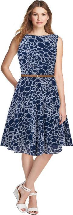 Dream Beauty Fashion Women's Fit and Flare Blue Dress