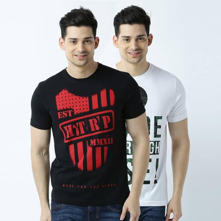 Huetrap Printed Men's Round Neck Black, White T-Shirt