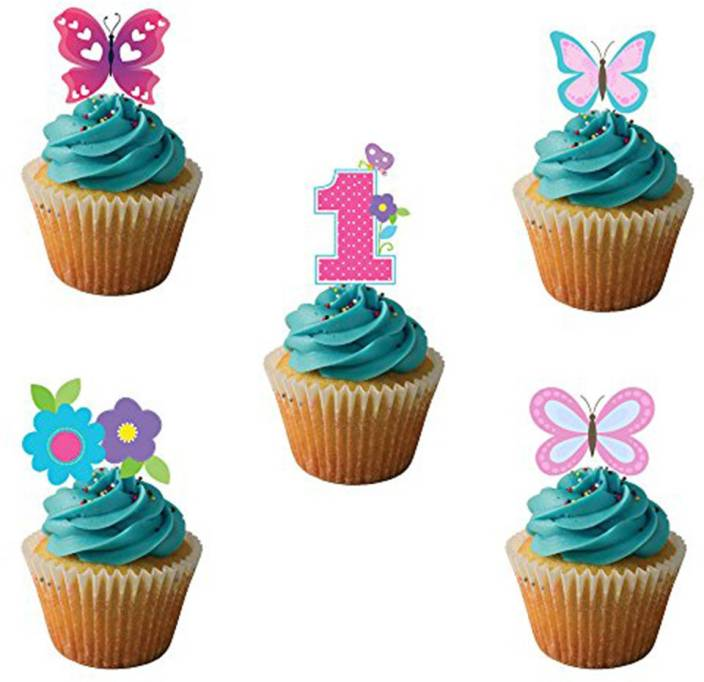 PARTY PROPZ Pink CUP CAKE TOPPERS SET OF 14 GIRLS 1ST BIRTHDAY DECORATION SUPPLIES