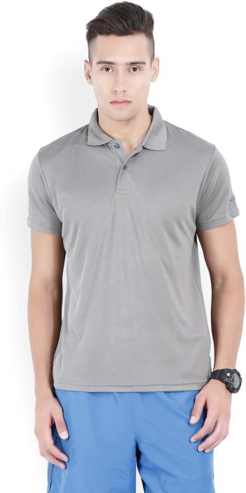 Lotto Solid Men's Polo Neck Grey T-Shirt