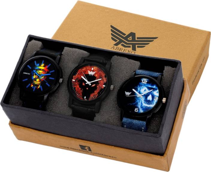 Abrexo Abx-0666 Combo Of Three (Formal+Casual+Party Wear) Maiden Watch  - For Men