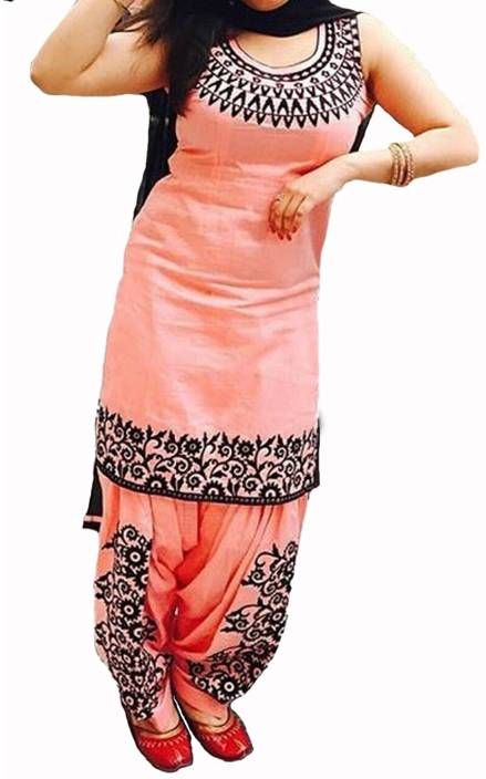 Saiyaara Fashion Cotton Embroidered Semi-stitched Salwar Suit Dupatta Material