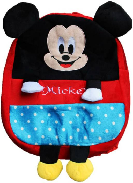 e7de69783ba toyjoy Mickey mouse school bag 35cm for kids  girls boys children plush  soft bag backpack cartoon bag gift for kids - 35 cm (Red)