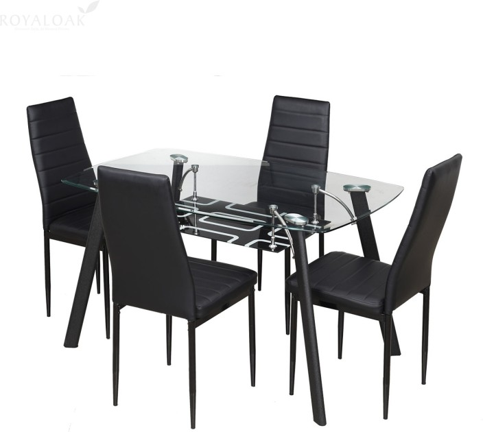 Royaloak Milan Glass 4 Seater Dining Set In India. Enchanting Dining Table  4 Chairs Room ...