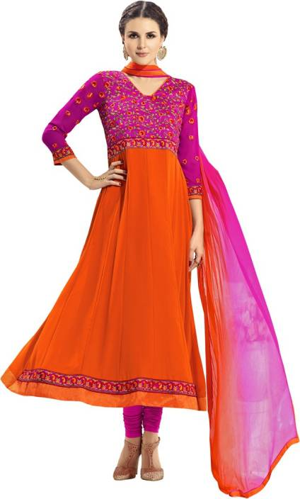 Saara Georgette Embroidered Semi-stitched Salwar Suit Dupatta Material