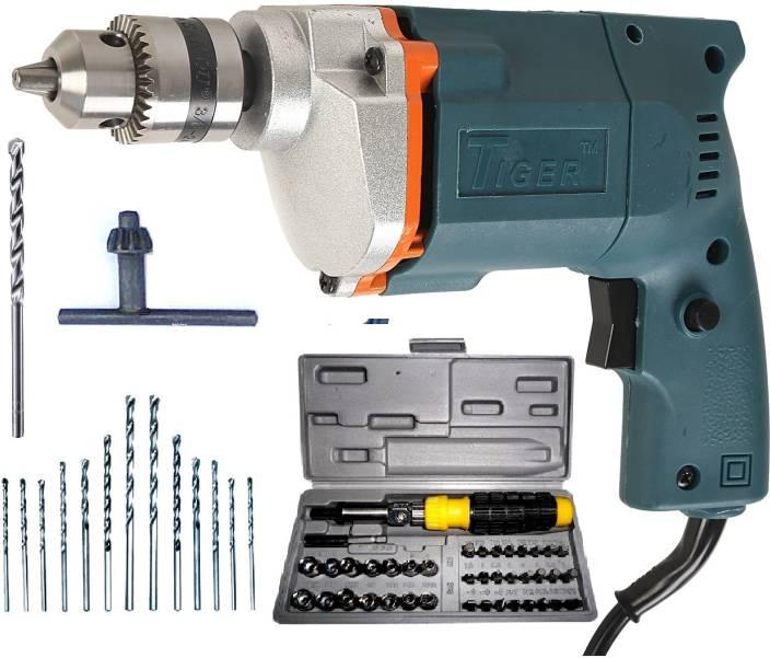 Tiger 10 mm Electric drill Machine With 41 Pcs Screwdriver Kit +13HSS Bits +1 Masonry Bit Power & Hand Tool Kit