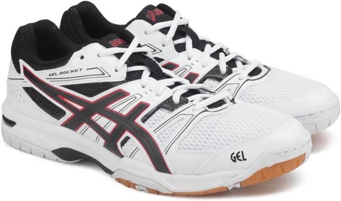 Asics GEL-ROCKET 7 Multi-Court Shoes For Men - Buy WHITE BLACK ... 949ef79d9f1a6