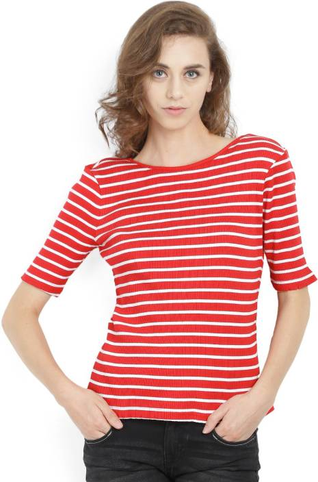 United Colors of Benetton. Casual Half Sleeve Striped Women's Red, White Top
