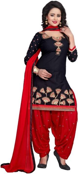 WONDERVILLA Cotton Embroidered Semi-stitched Salwar Suit Dupatta Material