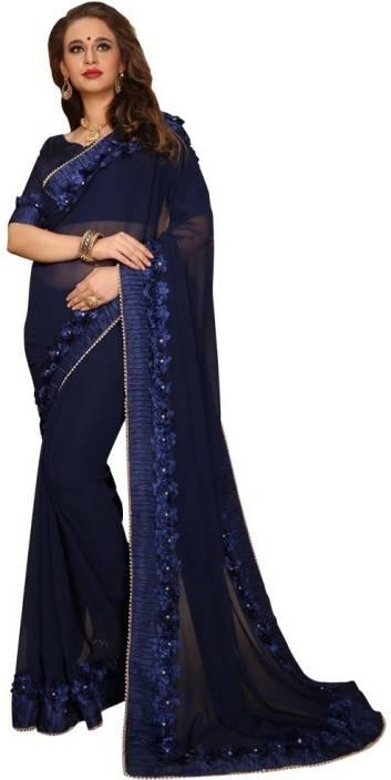 Buy Craftsvilla Self Design Daily Wear Georgette Blue Sarees Online