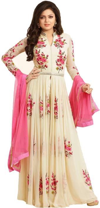 Tulsi Trendz Georgette Embroidered Semi-stitched Salwar Suit Dupatta Material