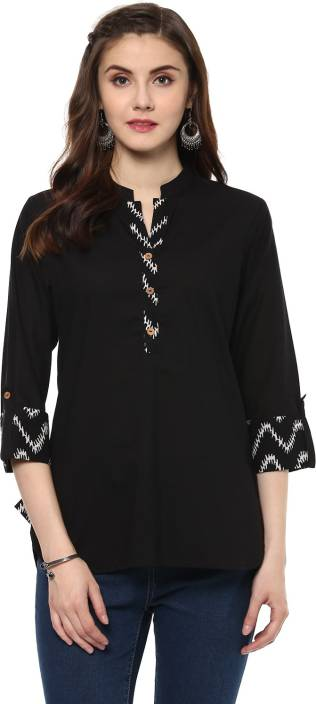 Krapal Party 3/4th Sleeve Printed Women Black Top