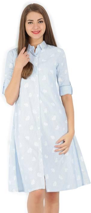 Tokyo Talkies Women's Shirt White, Blue Dress