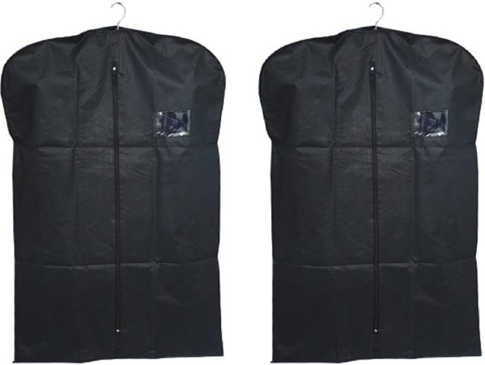 a539d84fd163 Kuber Industries Designer Men s Coat Blazer cover Foldover Breathable  Garment Bag Suit cover Set of 2 Pcs SAREESCKU8964 (Black)