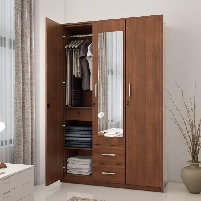 Spacewood Classy Engineered Wood 3 Door Wardrobe