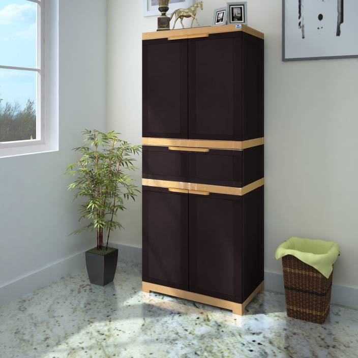 fc58723abcb Nilkamal Freedom FMDR 1C Plastic Free Standing Cabinet (Finish Color -  Weathered Brown   Biscuit)