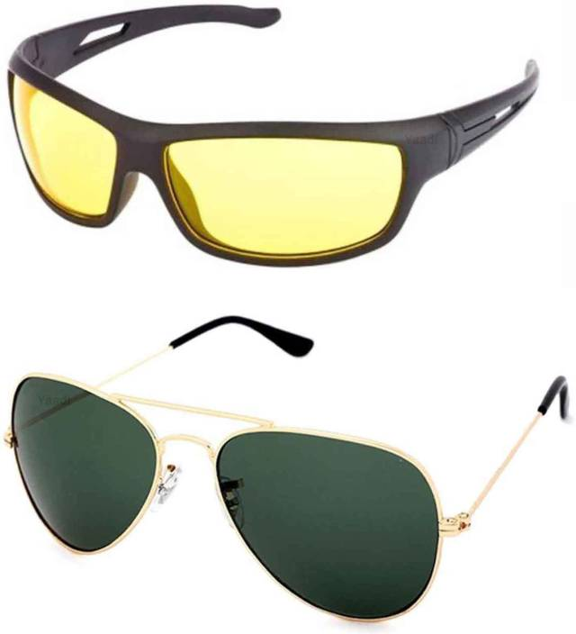 3b8dad5ac4f2 Buy Yaadi Wrap-around, Aviator Sunglasses Green, Yellow For Men ...