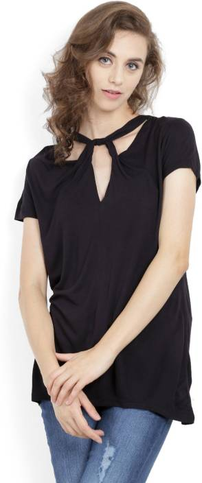 United Colors of Benetton. Casual Short Sleeve Solid Women's Black Top