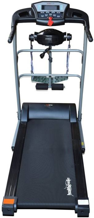Healthgenie 6in1 Motorized Treadmill 4112M with Massager, Tummy Twister,Dumbbells, Resistant Tubes, Max Speed 14 Kmph Treadmill