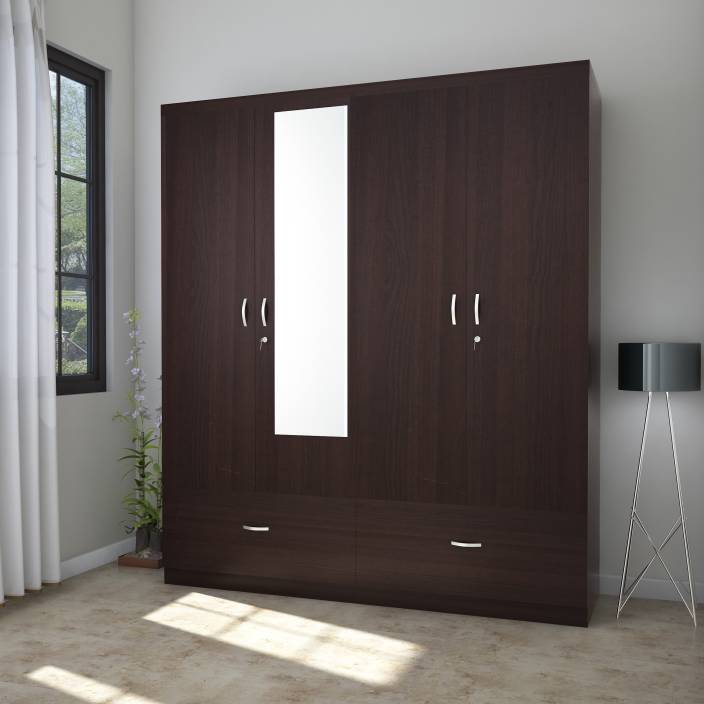 Cost Of Fitted Wardrobes: HomeTown Utsav Engineered Wood 4 Door Wardrobe Price In