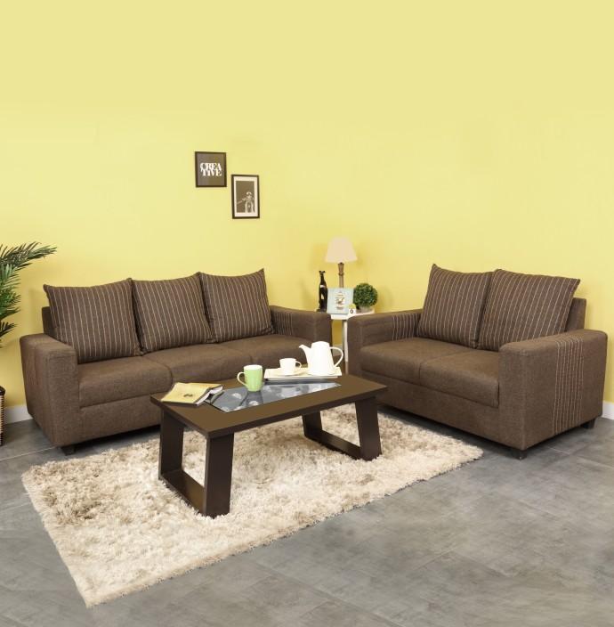 Furnicity Fabric 3 2 Brown Sofa Set Price in India Buy