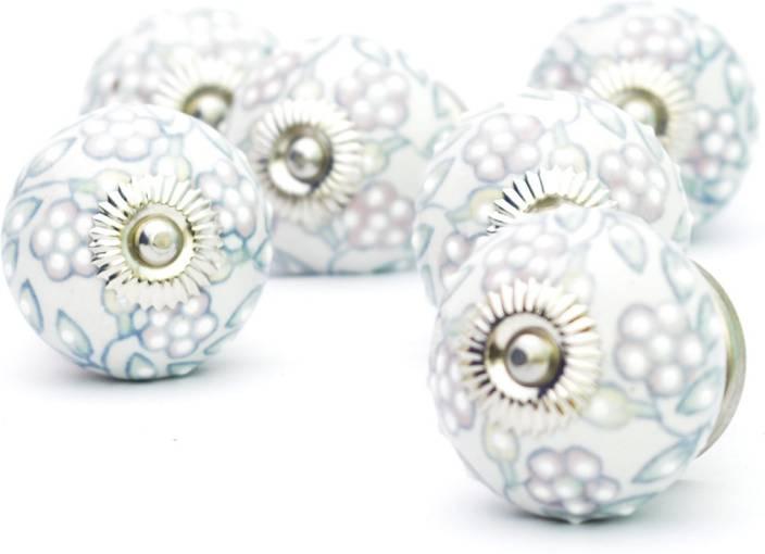 Casa Decor Pack Of 6 Ceramic Light Flower Crave Decorative Door