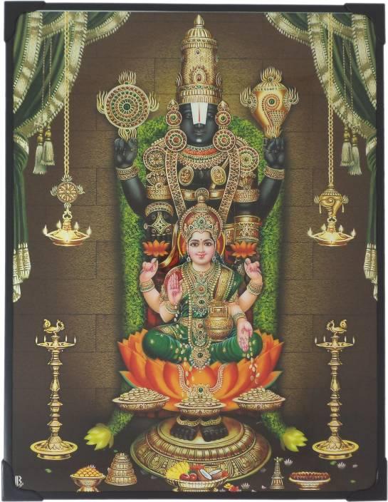 Generic Lord Balaji And Lakshmi Photo Frame Green Garland 29