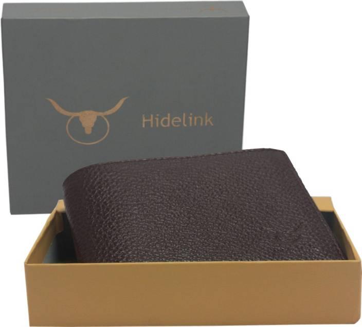 Hidelink Men Brown Genuine Leather Wallet