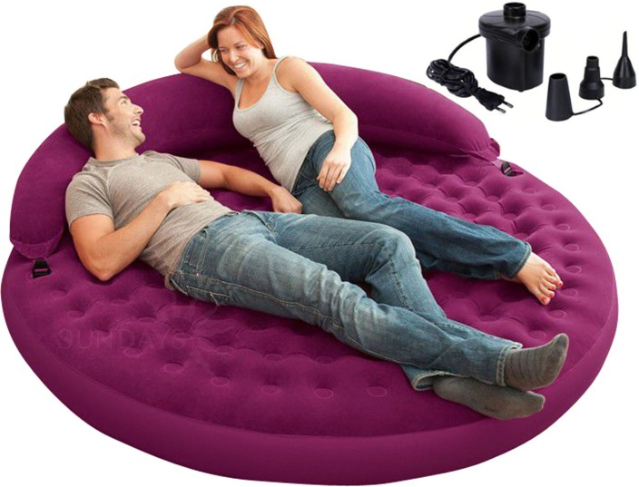 Marvelous Inflatable Furniture Part - 8: Intex Inflatable Daybed Lounge With Electric Air Pump PVC 2 Seater Inflatable  Sofa