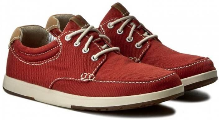 Clarks Norwin Vibe Red Textile Canvas Shoes For Men