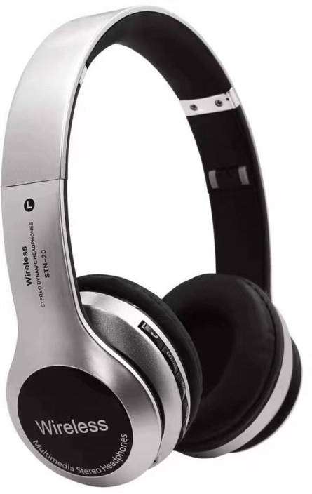f357705fbaf Like Star Wireless Bluetooth STN-20 Sport Stereo Headphones Hands  Bluetooth, Wired Headset with Mic (Silver, Over the Ear)
