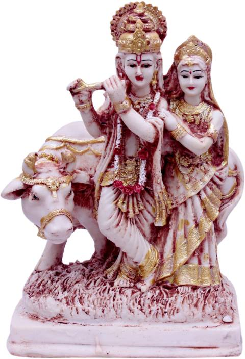 Green Value Max India Radha Krishna Cow idol/ statue murti