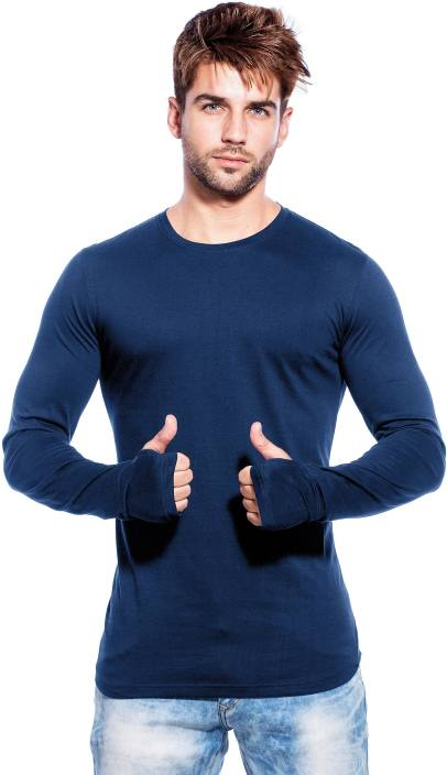Maniac Solid Men's Round Neck Dark Blue T-Shirt
