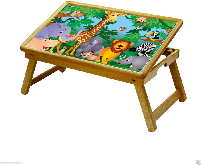 Charmant MAYUMI Multipurpose Foldable Study Table / Kids Activity Table / Laptop  Table With An ELEGANT CARTOON PRINT 2 (WILD ANIMALS) Solid Wood Activity  Table ...