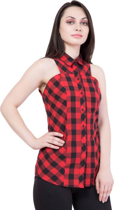 Hive91 Women Checkered Casual Red, Black Shirt