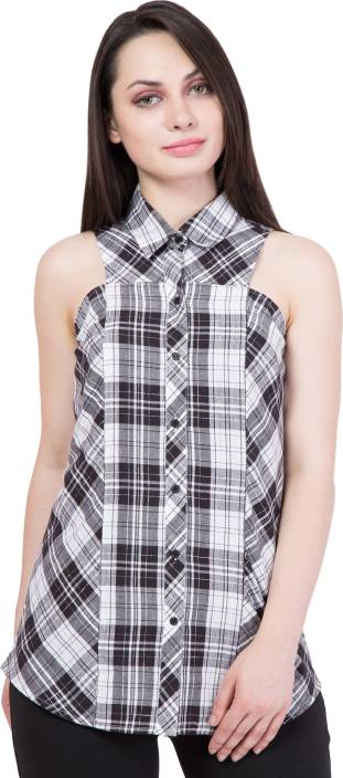 Hive91 Women Checkered Casual White, Black Shirt
