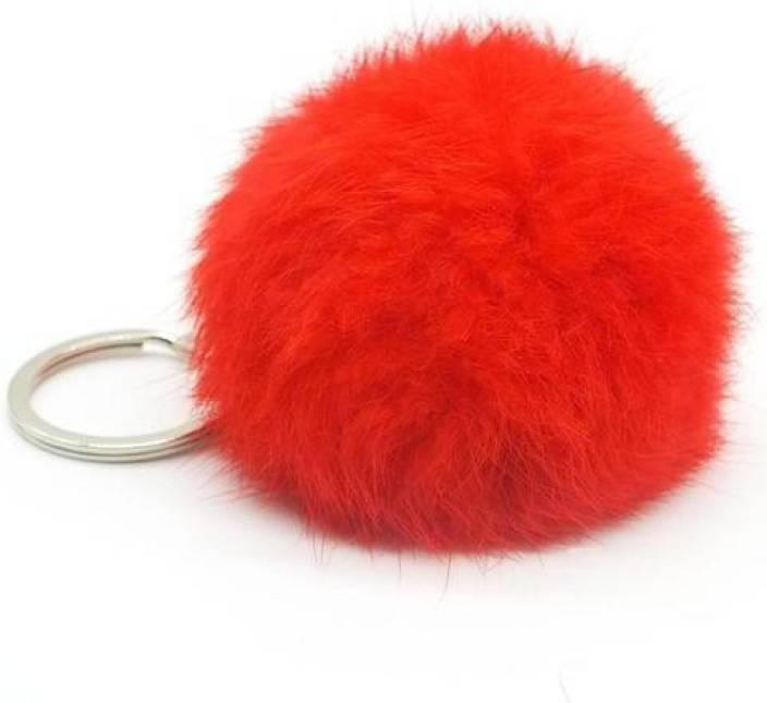 ACUTAS Lovely Artificial Rabbit Fur Ball (Multi Color) Key Chain