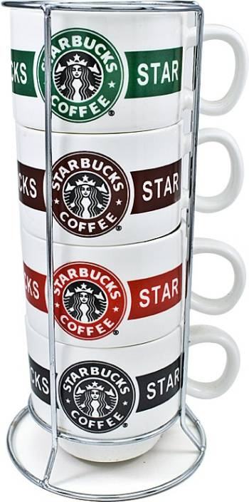 Starbucks Coffee Cup Set With Stand Ceramic Stainless Steel Mug