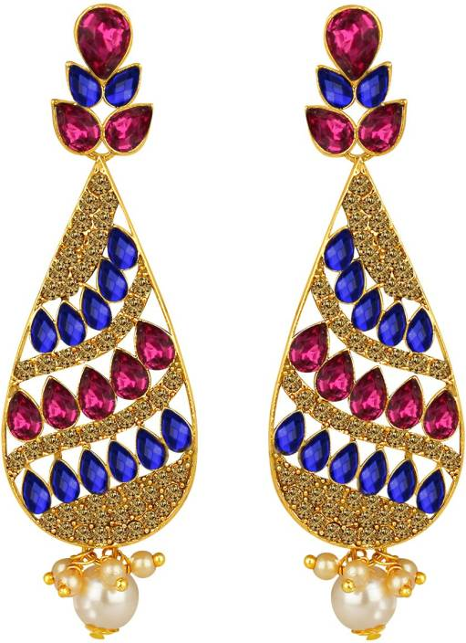 Flipkart buy spargz antique gold plated multicolor ad stone spargz antique gold plated multicolor ad stone big long indian style dangle chandelier earrings for mozeypictures Image collections