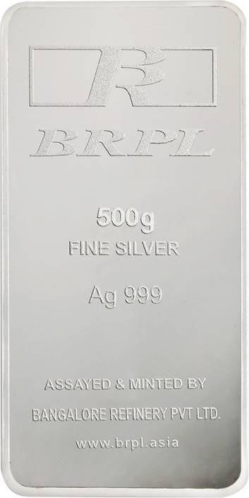Bangalore Refinery Brpl 500 Gram Silver Bar S 999 G