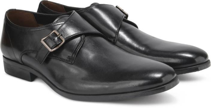 Clarks Banfield Monk Black Leather Slip On For Men