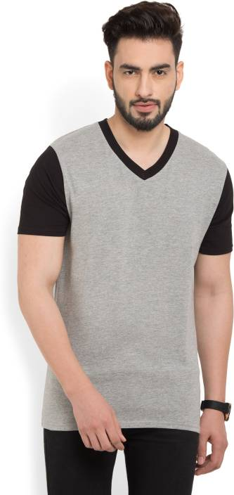 Billion PerfectFit Solid Men V-neck Grey, Black T-Shirt