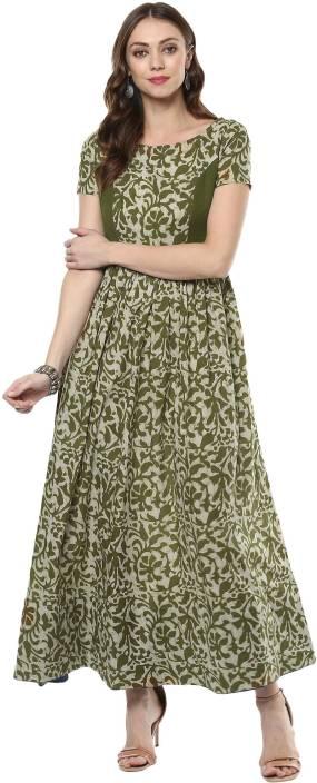 Indian Virasat Women's A-line Dark Green Dress