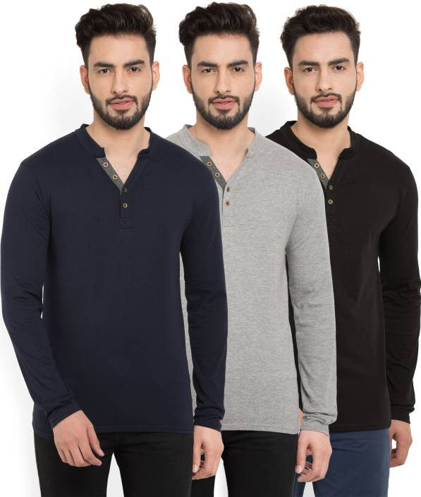 #OnlyOnFlipkart Billion PerfectFit Solid Men Henley Multicolor T-Shirt  (Pack of 3)