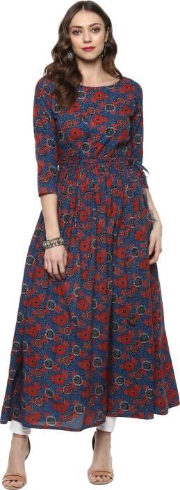 Indian Virasat Women's A-line Blue, Multicolor Dress