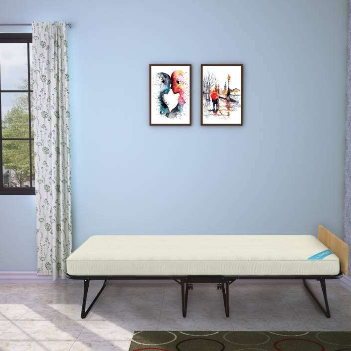 """Camabeds Easy Premium Single Folding Roll Away Bed with 5"""" Foam Mattress Metal Single Bed"""
