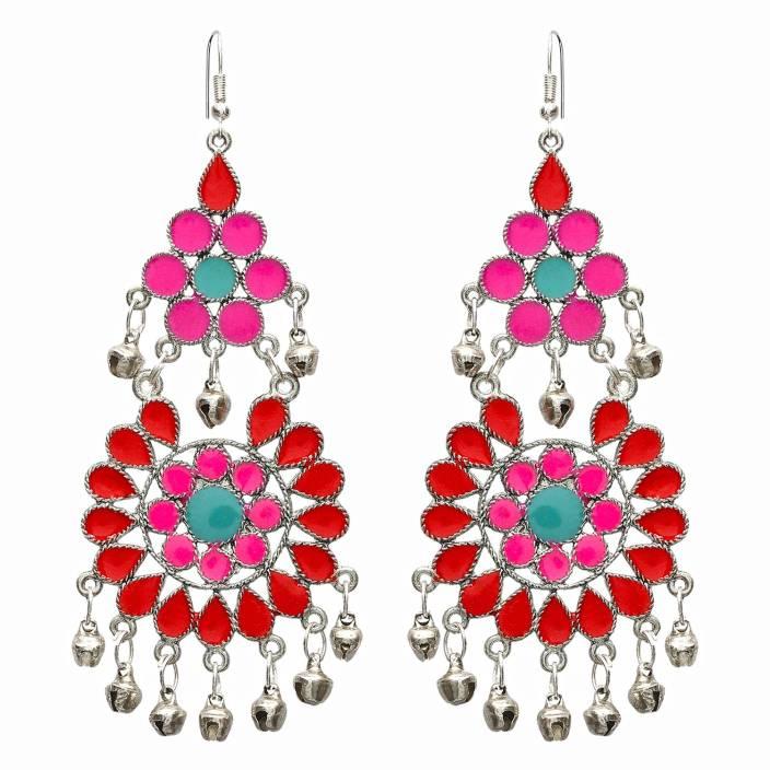 f2fe4c32f FreshVibes Afghan Earrings for Women Long Length in Pink and Red Flower –Ethnic  Tribal Boho