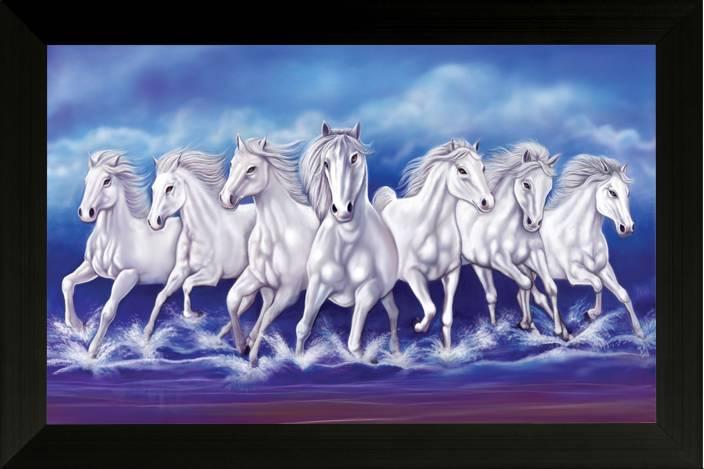 SAF Vastu Seven Running Horses Ink Painting Price in India ... 7 White Horses Running Painting